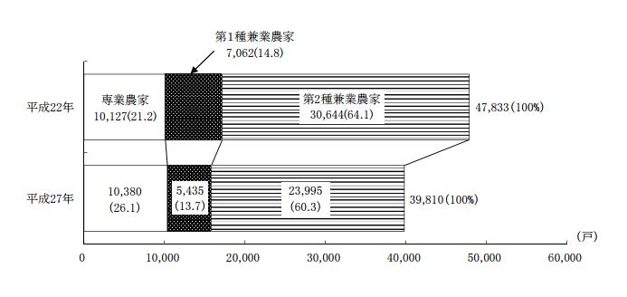 栃木 専業農家と兼業農家数