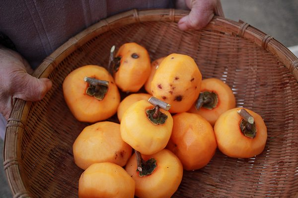皮をむいた柿